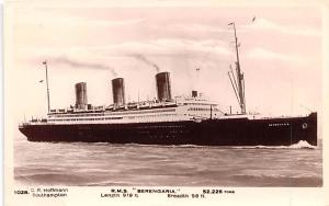 White Star Line Cunard Ship Post Card, Old Vintage Antique Postcard RMS Beren...