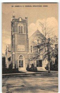 Stratford, CT - ST JAMES ROMAN CATHOLIC CHURCH - Vintage Collotype Postcard