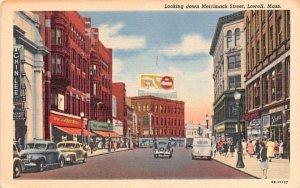 Looking down Merrimack Street Lowell, Massachusetts Postcard