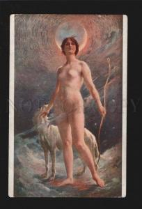 075915 NUDE WITCH Diana & GREYHOUND by LUCAS vintage PC