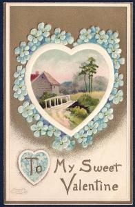 My Sweet Valentine Flowers Heart Country Lane used c1910's