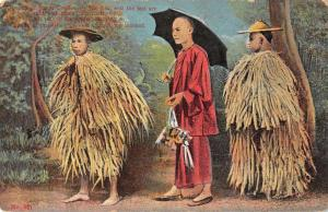 China Street Coolies Straw Rain Coats Antique Postcard J76165