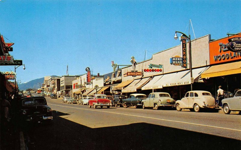 COURTENAY, BC Business Center Street Scene Canada Vintage Postcard ca 1950s