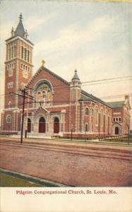 St Louis Missouri~Pilgrim Congregational Church~Cobblestone Street~1910 Postcard
