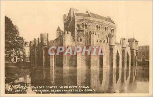 Postcard Old Ghent (Gent) Castle of the Counts saw the Little Gewad