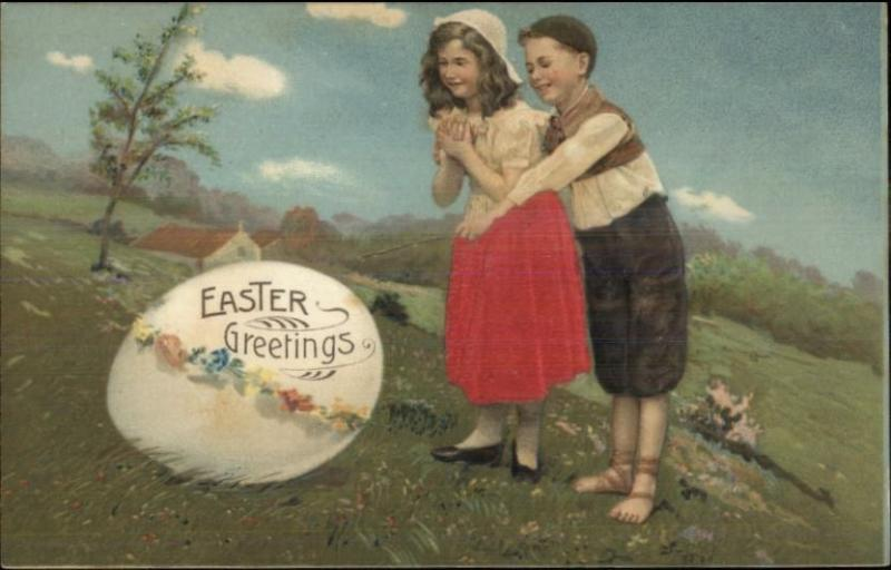 Easter - Children Discover Giant Egg REAL SILK c1910 Postcard
