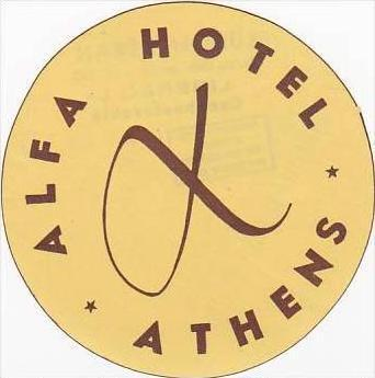 GREECE ATHENS ALFA HOTEL VINTAGE LUGGAGE LABEL