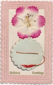Birthday Greetings - Layered Cloth Flower and Honeycomb - ECC Serie 265 - DB