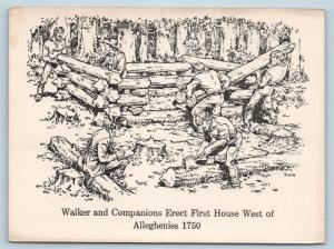 Postcard KY Barbourville Walker Companions Erect First House West Alleghenies N2