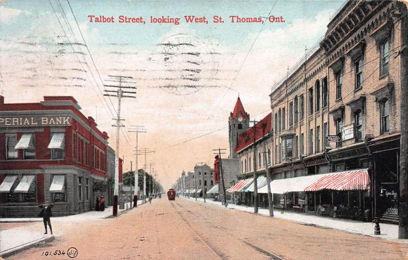 Talbot Street, Looking West, St. Thomas, Ontario, Canada, Postcard, Used in 1908