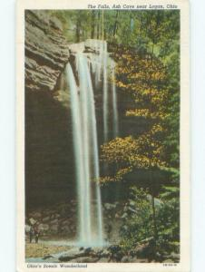 Unused Linen WATERFALL SCENE Logan - Near Lancaster & Columbus Ohio OH E4346