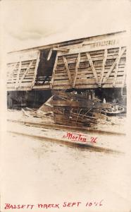 Morton? IL? P S Railroad Boxcar~Bassett Train Wreck RPPC Sept 10 1916? 1 of 3