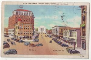 P226 JL postcard texarkana 1937 cars signs state line ave