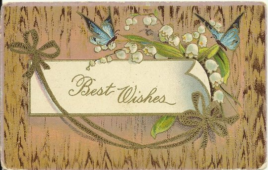 Blue Butterflies and Lily of The Valley Best Wishes Vintage Postcards 1910's