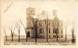 Algona Iowa~Third Ward School~Bare Trees Along Street~c1915 Kruxo Real Photo PC