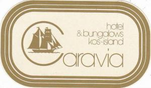 GREECE KOS ISLAND CARAVIA HOTEL & BUNGALOWS VINTAGE LUGGAGE LABEL