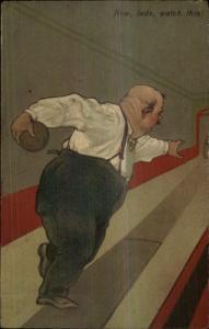 PFB Bowling Caricature Series 8372 c1910 Embossed Postcard #2