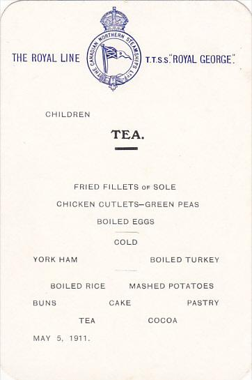 Canadian Northern Steamship S S Royal George Children Tea Menu May 5, 1911