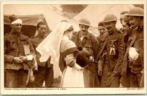 1910s WWI Canadian Military Postcard Canada Finds a Little Dog in Hun Trenches