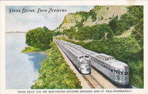Burlington Route Vista Dome Twin Zephyrs Between Chicago and St Paul-Minneapolis