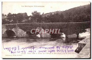Old Postcard Brittany Picturesque Old Bridge And Ruins of the Abbey of Bon Re...
