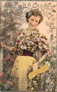 Postcard Fashion st nicolas dress flowers woman glamour beauty lovely smile