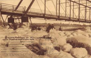 Maquoketa Elwood Iowa Wagon Bridge Snow Scene Antique Postcard K54719