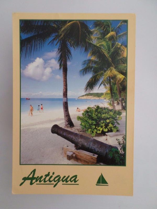 WEST INDIES ANTIGUA DICKENSON BAY BEACH PLAGE YEAR 1991 POSTCARD z1