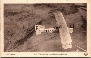 RARE - Vintage- L' AVION POSTAL MAROC FRANCE - French Postcard Plane Aviation