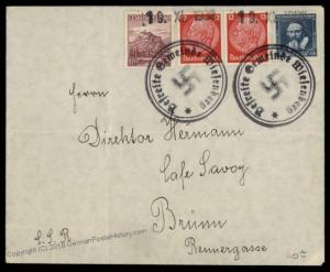 3rd Reich Germany 1938 Wiesenberg Sudetenland Annexation Provisional Cover 67896