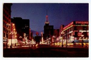 Postcard Main Street at Night Salt Lake City UT Utah Standard View Card