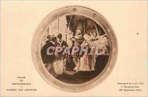 Postcard Old Palace of Fontainebleau Gallery Plates Birth of Louis XIII in Fo...