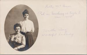 Two Women Studio Portrait Martha Berg Kitty McCann c1908 RPPC Postcard F10