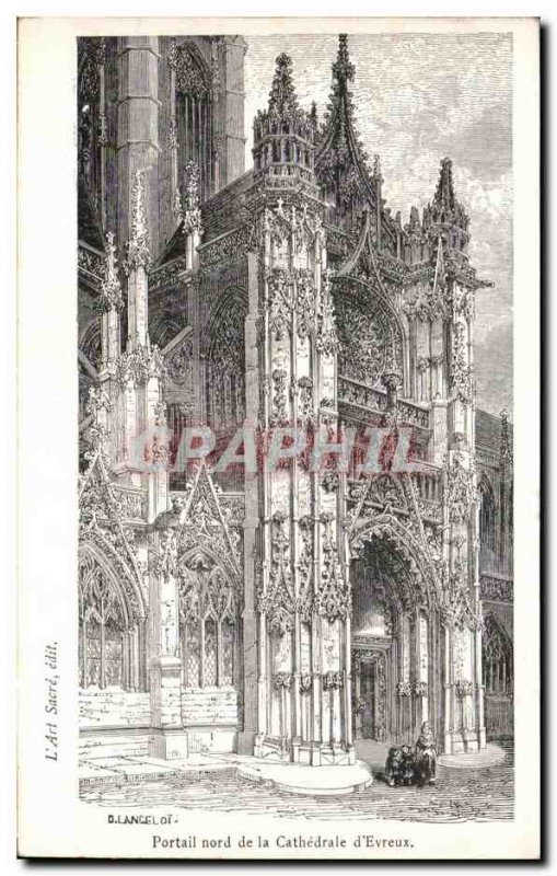Old Postcard North Portal of the Cathedral of & # 39Evreux