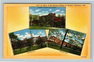 Columbus OH, St Mary Of The Springs College For Women, Linen Ohio Postcard
