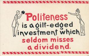 Politeness Greetings - Investment which seldom misses a Dividend - DB