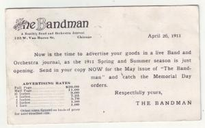 P1103 1911 advertize the bandman monthly band & orchestra journal chiago IL