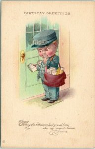 1910s Postman Mail Man Postcard BIRTHDAY GREETINGS May the Letterman Find You…