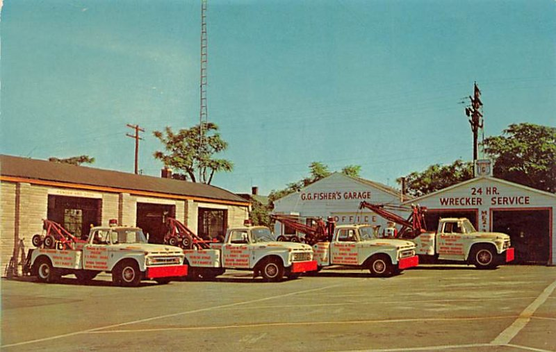 Trucks / Buses /  Vans Post Card GG Fisher Garage Inc Indianapolis, Indiana, ...