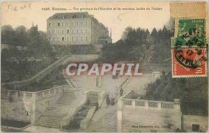 Old Postcard Rennes General view of the staircase and the new Garden Tabor