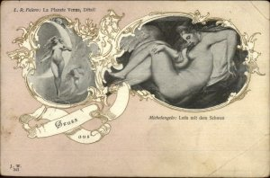Michelangelo Leda mi dem Schwan Nude Woman Art Nouveau Gruss Aus Postcard