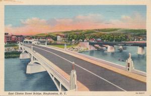 East Clinton Street Bridge - Binghamton NY, New York - pm 1945 - Linen