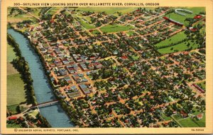 AERIAL VIEW Oregon WILLIAMETTE RIVER  VINTAGE LINEN postcard