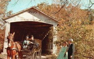 Parke County, IN, Billie Creek Covered Bridge, Chrome Vintage Postcard g8322