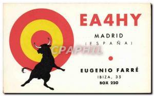 Old Postcard Telegraphie EA4HY Madrid Eugenio Farre Ibiza Taurus