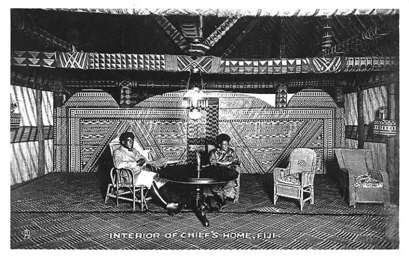 A Fijian Interior of The Chief's Home Raphael Tuck Real Photo Postcard