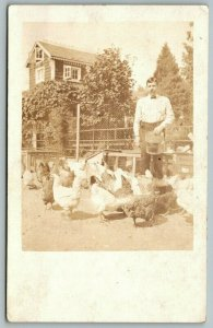 Real Photo Postcard ~Fellow in Starched Shirt & Bow Tie Feeding Chickens~c1908