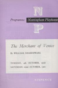 The Merchant Of Venice Shakespeare Nottingham Playhouse Theatre Programme