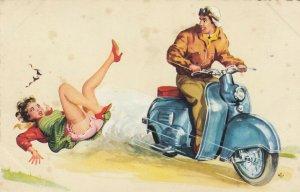 Motorbike knocks woman off her feet , 20-40s