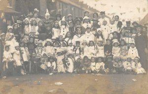 RPPC Peace Celebration Kids Dressed As Clowns UK? WWI 1919 Vintage Postcard